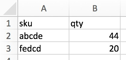 Esempio di un file di Excel